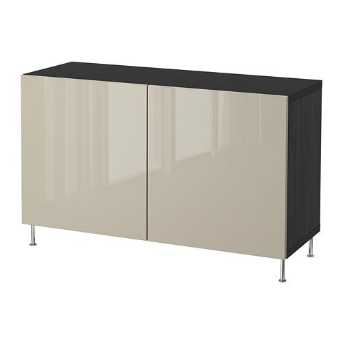 BESTÅ - storage combination with doors, black-brown/Selsviken/Stallarp high-gloss/beige | IKEA Hong Kong and Macau - PE686663_S4