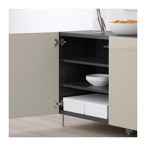 BESTÅ - storage combination with doors, black-brown/Selsviken/Stallarp high-gloss/beige | IKEA Hong Kong and Macau - PE686637_S4