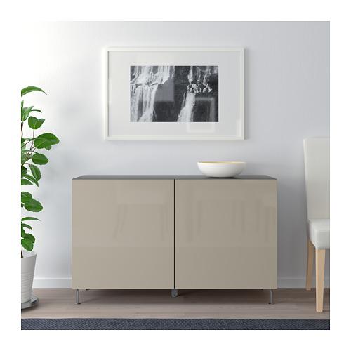 BESTÅ - storage combination with doors, black-brown/Selsviken/Stallarp high-gloss/beige | IKEA Hong Kong and Macau - PE686664_S4