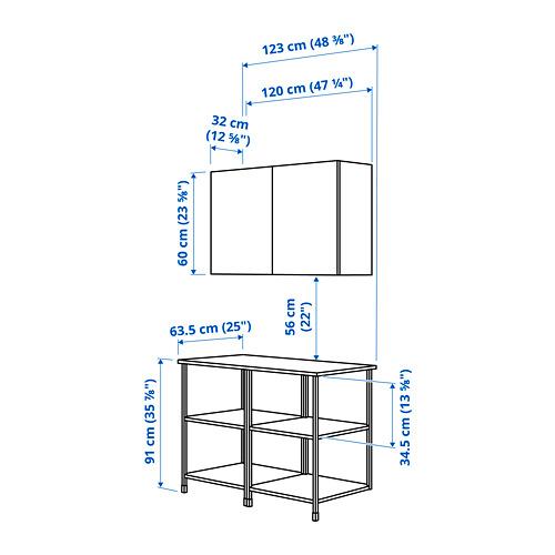 ENHET - 上牆式貯物架組合, white/grey frame | IKEA 香港及澳門 - PE783884_S4