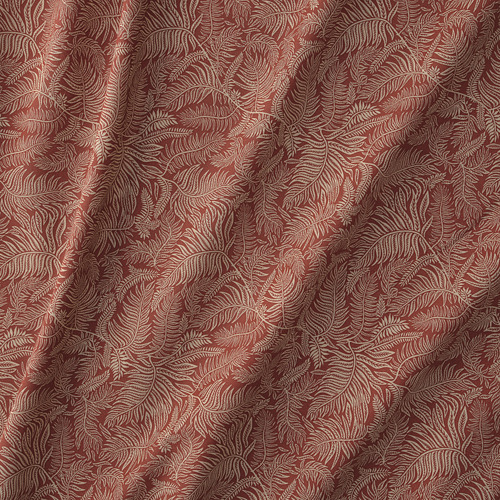 HAKVINGE - curtains, 1 pair, dark brown-red/leaf patterned | IKEA Hong Kong and Macau - PE772572_S4