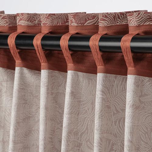 HAKVINGE - curtains, 1 pair, dark brown-red/leaf patterned | IKEA Hong Kong and Macau - PE772573_S4