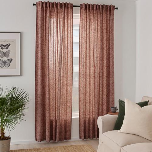 HAKVINGE - curtains, 1 pair, dark brown-red/leaf patterned | IKEA Hong Kong and Macau - PE772574_S4