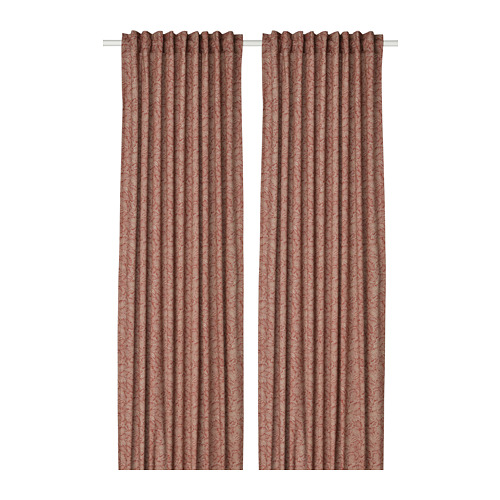HAKVINGE - curtains, 1 pair, dark brown-red/leaf patterned | IKEA Hong Kong and Macau - PE772575_S4