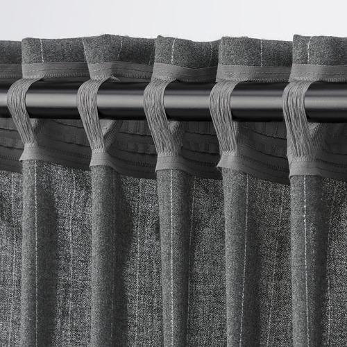 MILDRUN - curtains, 1 pair, dark grey/striped | IKEA Hong Kong and Macau - PE772578_S4