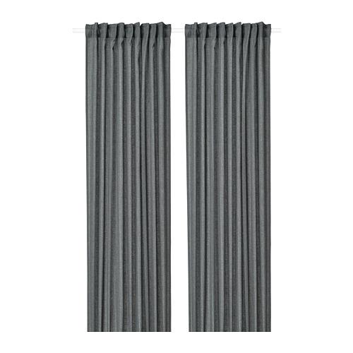 MILDRUN - curtains, 1 pair, dark grey/striped | IKEA Hong Kong and Macau - PE772580_S4