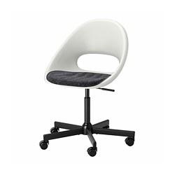 MALSKÄR/LOBERGET - 旋轉椅連椅墊, 白色 黑色/深灰色 | IKEA 香港及澳門 - PE772620_S3