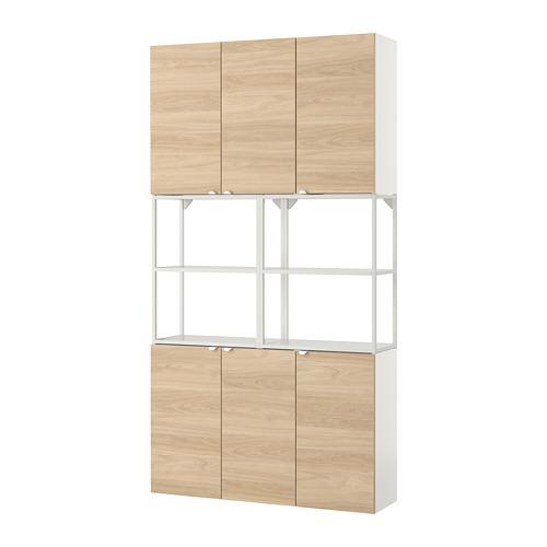 ENHET - 上牆式貯物架組合, white/oak effect | IKEA 香港及澳門 - PE784130_S4