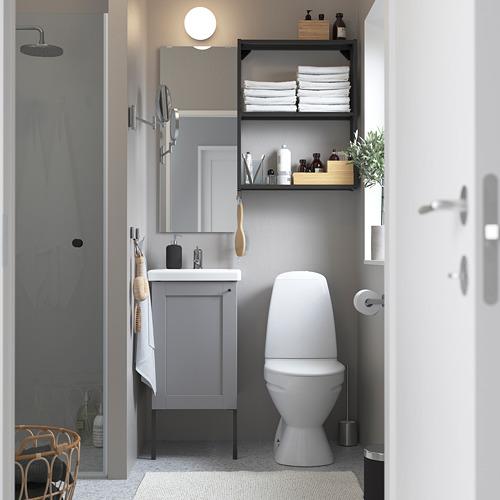 TVÄLLEN/ENHET - 浴室貯物組合 10件裝, grey frame/anthracite Lillsvan tap | IKEA 香港及澳門 - PE784168_S4