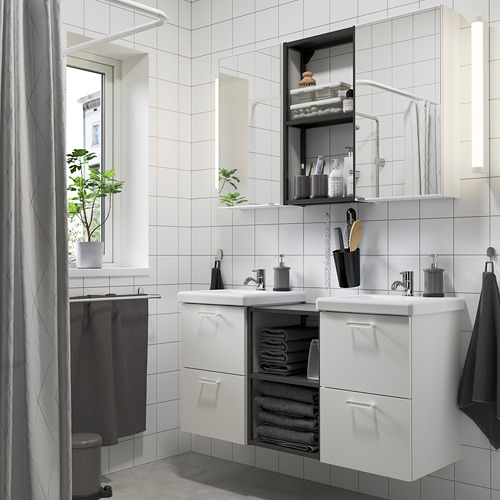 TVÄLLEN/ENHET - bathroom furniture, set of 22, white/anthracite Pilkån tap   IKEA Hong Kong and Macau - PE784210_S4