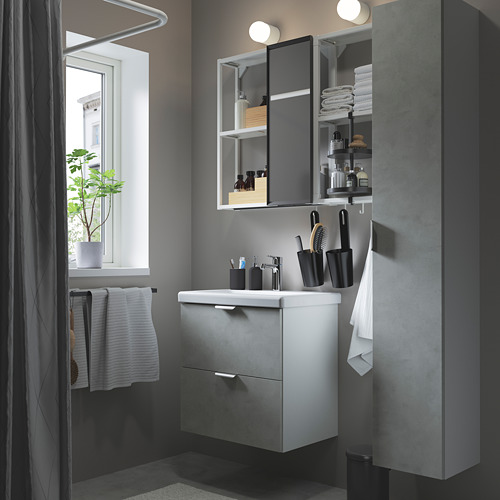 TVÄLLEN/ENHET - 浴室貯物組合 18件裝, concrete effect/white Brogrund tap   IKEA 香港及澳門 - PE784220_S4