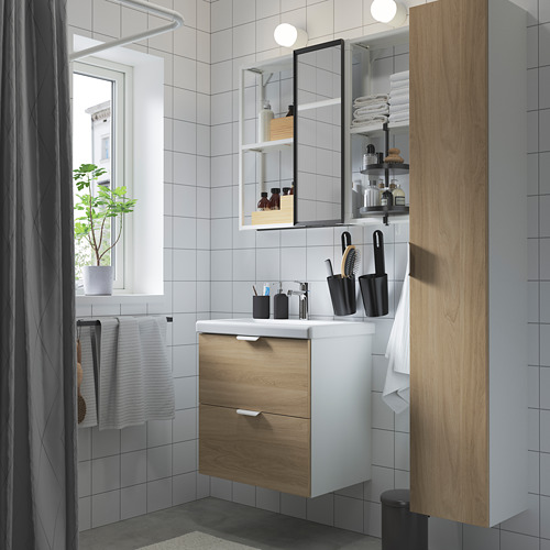 TVÄLLEN/ENHET - bathroom furniture, set of 18, oak effect/white Brogrund tap | IKEA Hong Kong and Macau - PE784226_S4