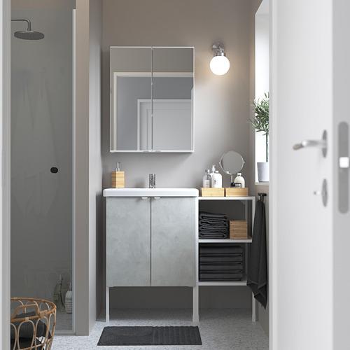 TVÄLLEN/ENHET - 浴室貯物組合 14件裝, 仿混凝土/白色 PILKÅN水龍頭   IKEA 香港及澳門 - PE784235_S4
