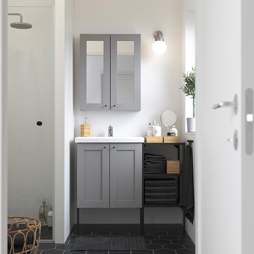 TVÄLLEN/ENHET - 浴室貯物組合 14件裝, 灰色 框架/炭黑色 PILKÅN水龍頭 | IKEA 香港及澳門 - PE784236_S4