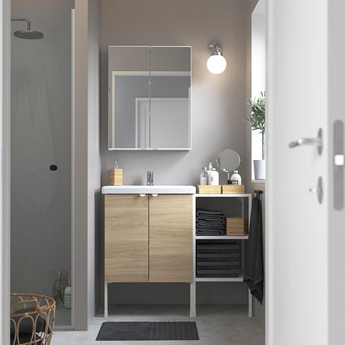 TVÄLLEN/ENHET - 浴室貯物組合 14件裝, 橡木紋/白色 PILKÅN水龍頭   IKEA 香港及澳門 - PE784238_S4