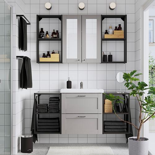 TVÄLLEN/ENHET - bathroom furniture, set of 18, grey frame/anthracite Pilkån tap | IKEA Hong Kong and Macau - PE784248_S4