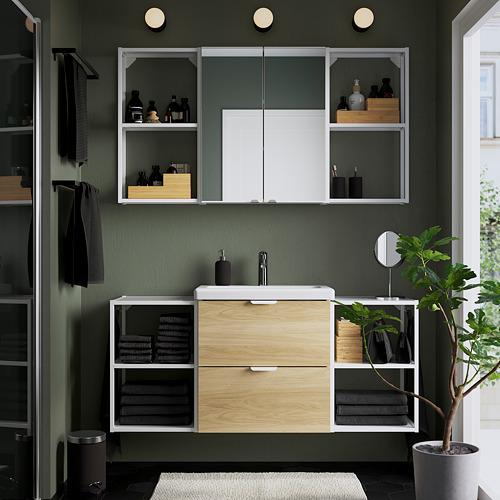 TVÄLLEN/ENHET - 浴室貯物組合 18件裝, oak effect/white Brogrund tap | IKEA 香港及澳門 - PE784243_S4