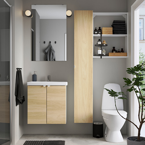 TVÄLLEN/ENHET - 浴室貯物組合 13件裝, 橡木紋/白色 PILKÅN水龍頭 | IKEA 香港及澳門 - PE784386_S4