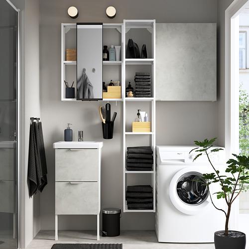 TVÄLLEN/ENHET - 浴室貯物組合 16件裝, 仿混凝土/白色 PILKÅN水龍頭   IKEA 香港及澳門 - PE784358_S4