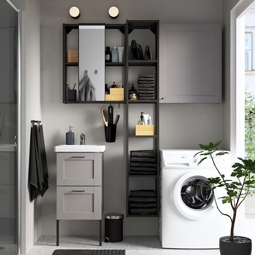 TVÄLLEN/ENHET - 浴室貯物組合 16件裝, grey frame/anthracite Lillsvan tap | IKEA 香港及澳門 - PE784366_S4