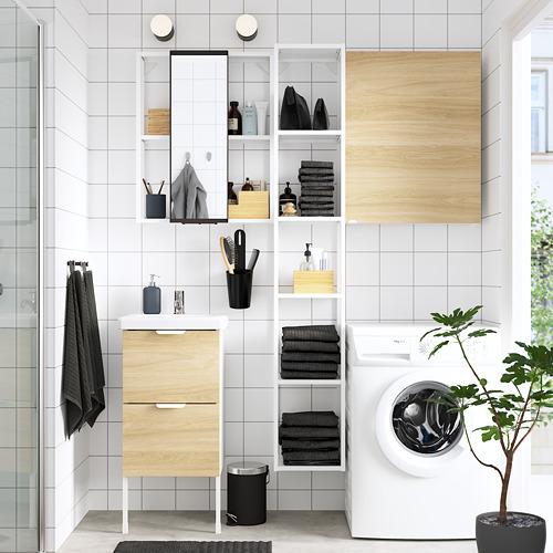 TVÄLLEN/ENHET - 浴室貯物組合 16件裝, 橡木紋/白色 PILKÅN水龍頭   IKEA 香港及澳門 - PE784375_S4