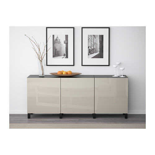 BESTÅ - storage combination with doors, black-brown/Selsviken high-gloss/beige | IKEA Hong Kong and Macau - PE574393_S4