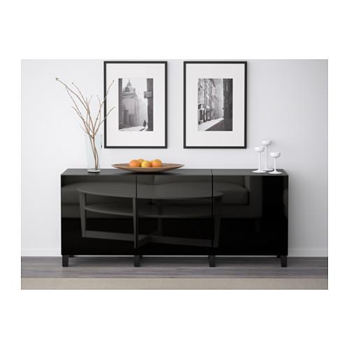 BESTÅ - storage combination with doors, black-brown/Selsviken high-gloss/black | IKEA Hong Kong and Macau - PE574397_S4