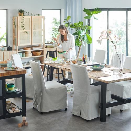 BERGMUND/SKOGSTA - 一檯六椅, acacia/Kolboda beige/dark grey | IKEA 香港及澳門 - PH176248_S4