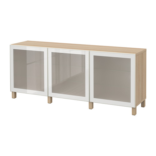 BESTÅ - storage combination with doors, white stained oak effect/Glassvik white frosted glass | IKEA Hong Kong and Macau - PE574478_S4