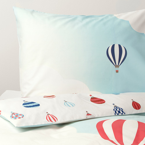 UPPTÅG - quilt cover and pillowcase, air balloon pattern/blue   IKEA Hong Kong and Macau - PE730327_S4