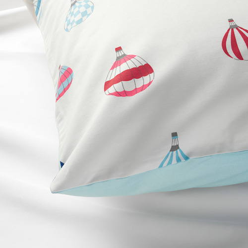 UPPTÅG - quilt cover and pillowcase, air balloon pattern/blue   IKEA Hong Kong and Macau - PE730331_S4