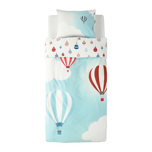 UPPTÅG - quilt cover and pillowcase, air balloon pattern/blue   IKEA Hong Kong and Macau - PE730330_S4