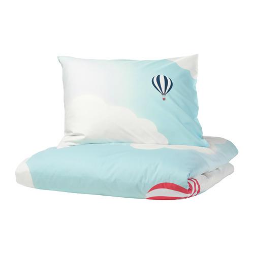 UPPTÅG - quilt cover and pillowcase, air balloon pattern/blue   IKEA Hong Kong and Macau - PE730328_S4