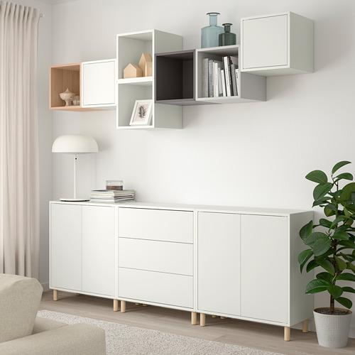 EKET - cabinet combination with legs, white/white stained oak effect light grey/dark grey | IKEA Hong Kong and Macau - PE784676_S4