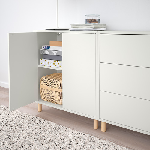 EKET - cabinet combination with legs, white/white stained oak effect light grey/dark grey | IKEA Hong Kong and Macau - PE784674_S4