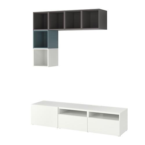 EKET/BESTÅ - cabinet combination for TV, white/dark grey/grey-turquoise | IKEA Hong Kong and Macau - PE784741_S4