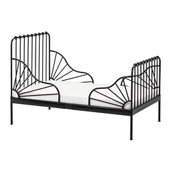 MINNEN - ext bed frame with slatted bed base, black | IKEA Hong Kong and Macau - PE730460_S3