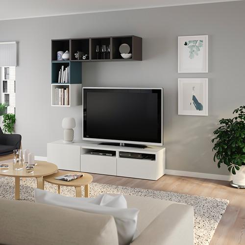 EKET/BESTÅ - cabinet combination for TV, white/dark grey/grey-turquoise | IKEA Hong Kong and Macau - PE784739_S4