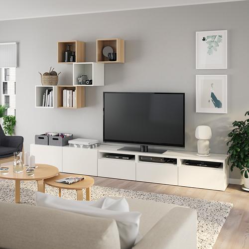 EKET/BESTÅ - 電視貯物組合, white/white stained oak effect   IKEA 香港及澳門 - PE784746_S4