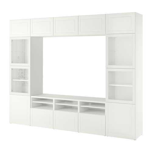 BESTÅ - TV storage combination/glass doors, white Smeviken/Ostvik white clear glass | IKEA Hong Kong and Macau - PE784799_S4
