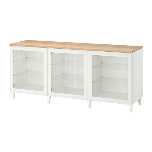 BESTÅ - storage combination with doors, white/Ostvik/Kabbarp white clear glass | IKEA Hong Kong and Macau - PE784812_S4