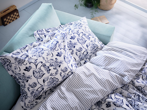 JUNIMAGNOLIA - duvet cover and pillowcase, white/dark blue, 150x200/50x80 cm   IKEA Hong Kong and Macau - PH177652_S4