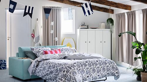JUNIMAGNOLIA - duvet cover and pillowcase, white/dark blue, 150x200/50x80 cm   IKEA Hong Kong and Macau - PH177653_S4