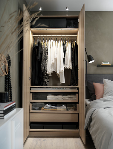 PAX/FORSAND - wardrobe combination, white stained oak effect/white stained oak effect   IKEA Hong Kong and Macau - PH166837_S4
