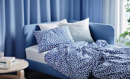 KVASTFIBBLA - 被套連2個枕袋, 白色/深藍色, 240x220/50x80 cm   IKEA 香港及澳門 - PH177615_S4