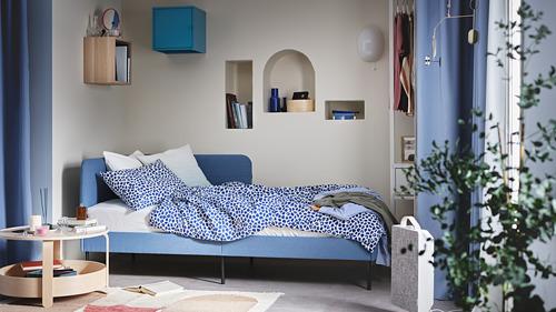 KVASTFIBBLA - 被套連2個枕袋, 白色/深藍色, 240x220/50x80 cm   IKEA 香港及澳門 - PH177613_S4
