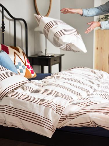 SMALFRÄKEN - duvet cover and 2 pillowcases, white/brown, 240x220/50x80 cm | IKEA Hong Kong and Macau - PH177862_S4