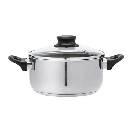 ANNONS - 連蓋鍋2.8 升,玻璃/不銹鋼   IKEA 香港及澳門 - PE513310_S4