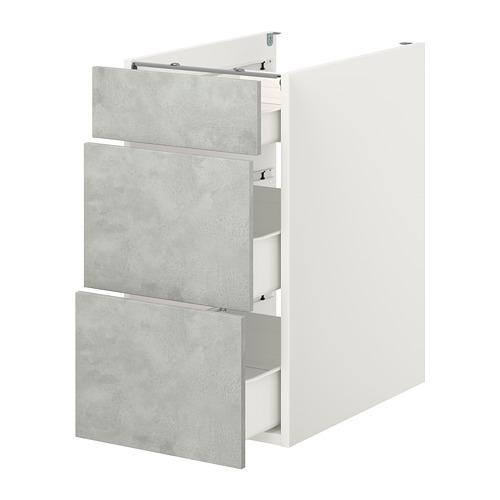 ENHET - 地櫃連3格抽屜, 白色/仿混凝土 | IKEA 香港及澳門 - PE773245_S4