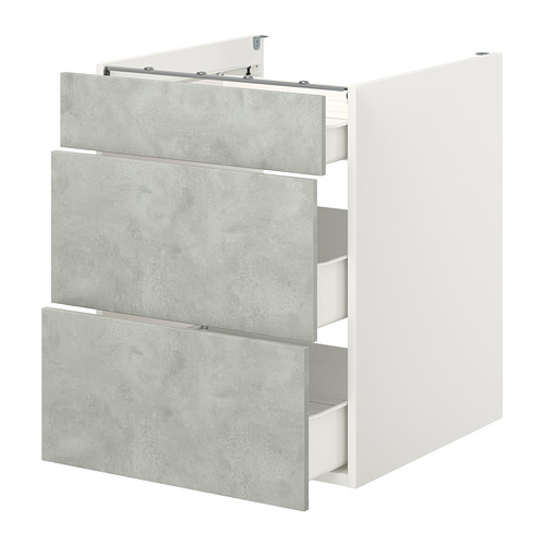 ENHET - 地櫃連3格抽屜, 白色/仿混凝土 | IKEA 香港及澳門 - PE773152_S4